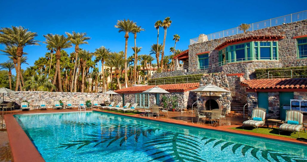 Pool and palm trees