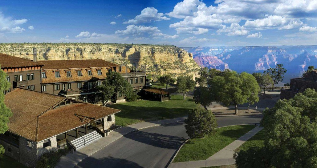 building over looking grand canyon
