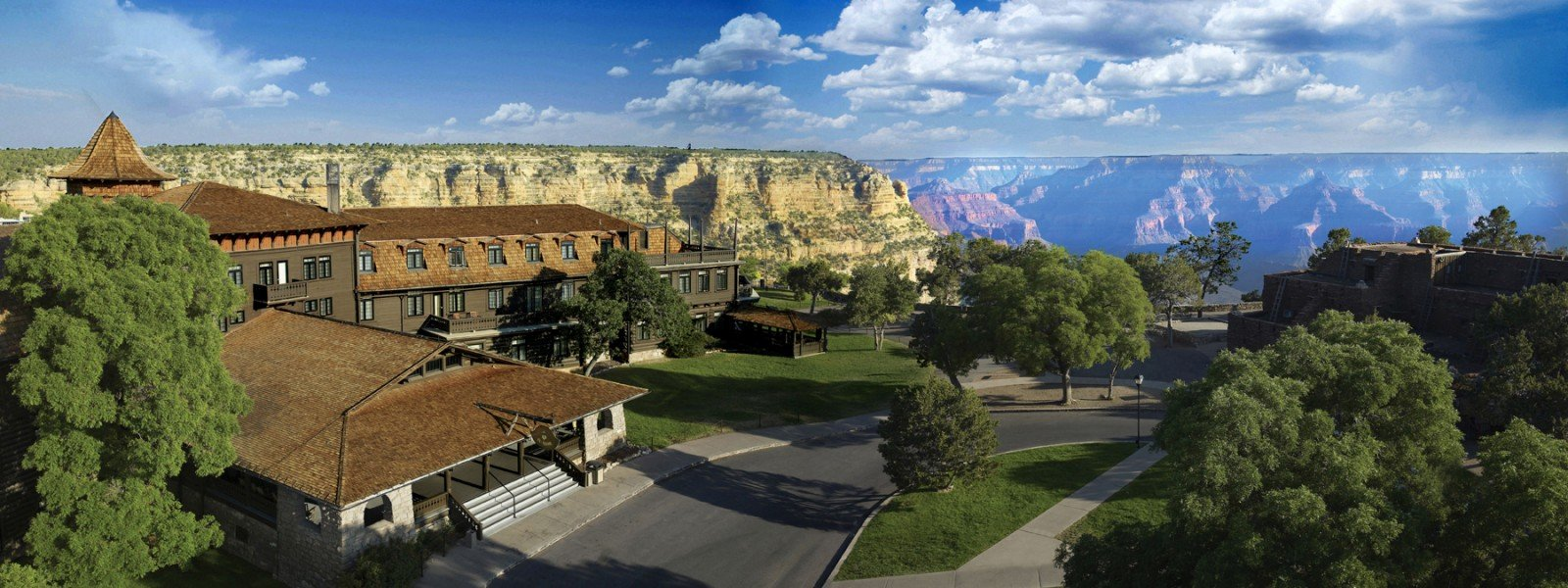 A hotel with canyon in the background
