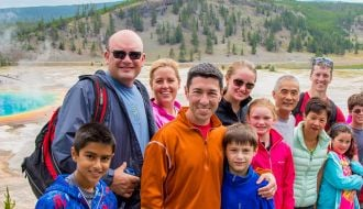 Family at Yellowstone National Park