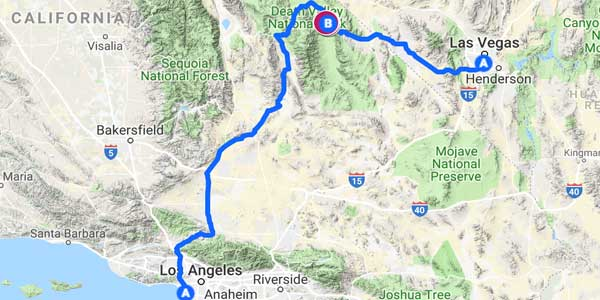 A map outlining the route from Los Angeles to Las Vegas.