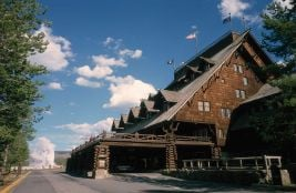 An exterior view of Old Faithful Inn
