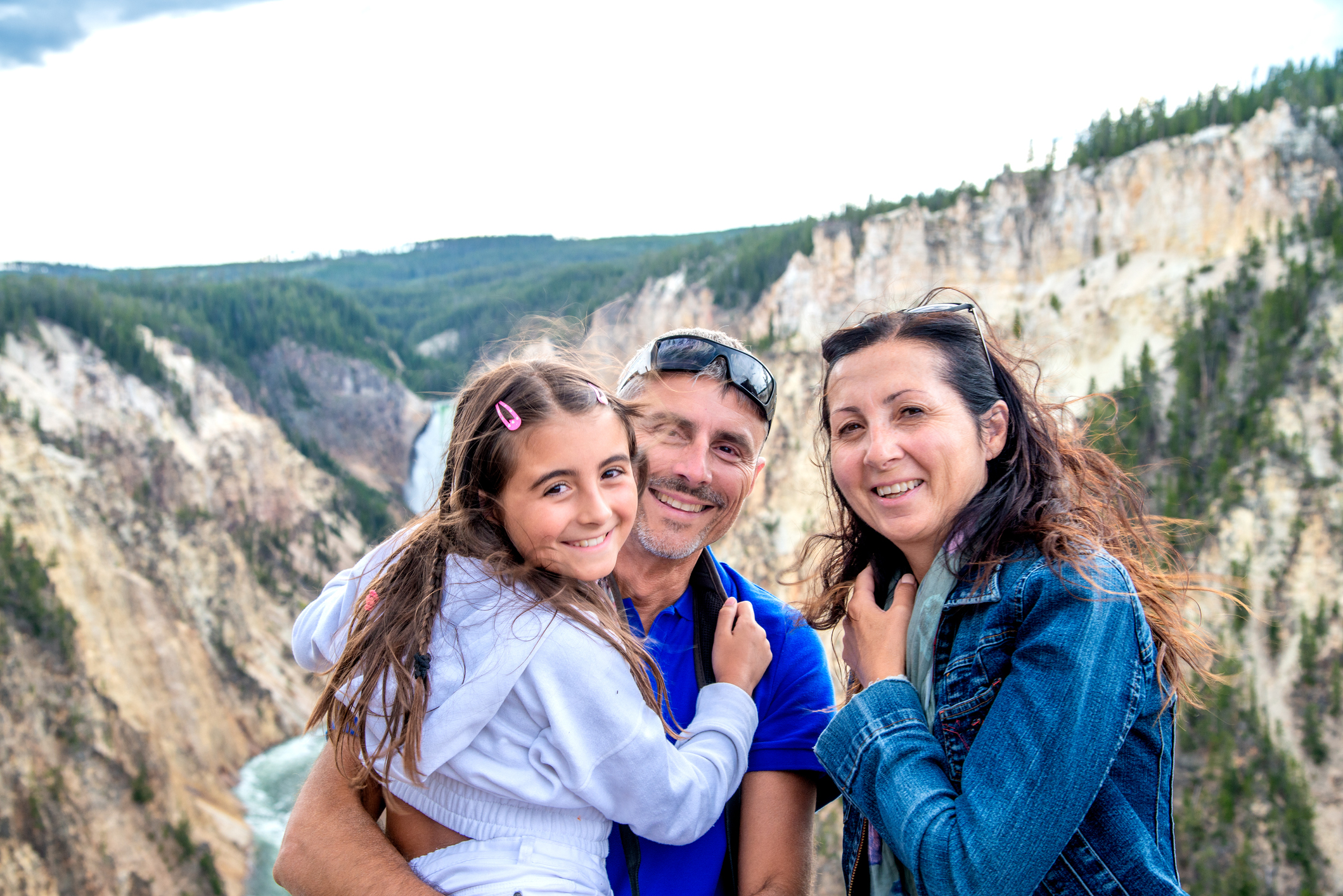 Natural Parks. Cool vacation. Happy family on vacation in Usa. Canyon Village. Yellowstone National Park. Wyoming.